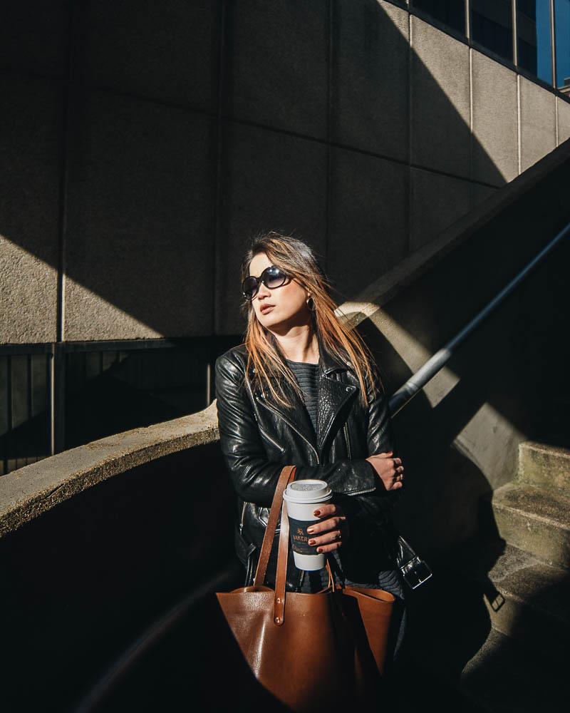 Casual Leather Jacket Look