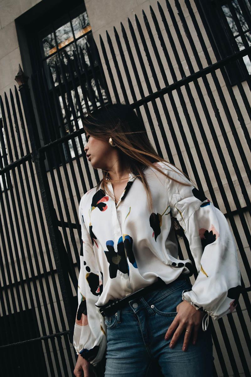 Floral print silk shirt for spring